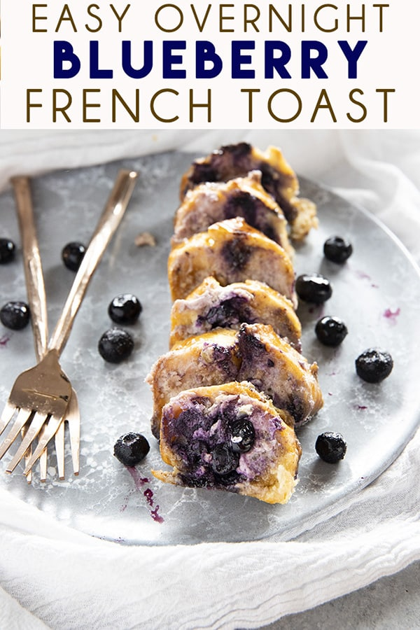 Overnight Blueberry French Toast Casserole is so easy to make ahead and then bake the next morning!  This french toast casserole is packed full of sweet cream cheese and blueberries! #frenchtoast #frenchtoastcasserole #overnightfrenchtoast #blueberryfrenchtoast #easyovernightfrenchtoast