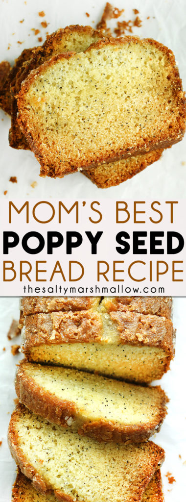 This poppy seed bread is the best ever, completely mouthwatering! An easy quick bread that bakes up melt-in-your-mouth tender, with the most amazing sweet citrus glaze! #poppyseedbread #quickbread #easypoppyseedbread #glazedpoppyseedbread #thesaltymarshmallow
