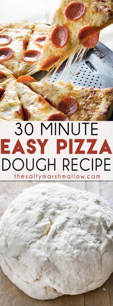 Miracle Pizza Dough Recipe is the absolute best, easy, basic pizza dough recipe!  This super easy pizza dough gives you a homemade, thick, buttery, and chewy crust in only 30 minutes! #pizza #pizzadougheasy #pizzadoughrecipes #easypizzadough #thesaltymarshmallow