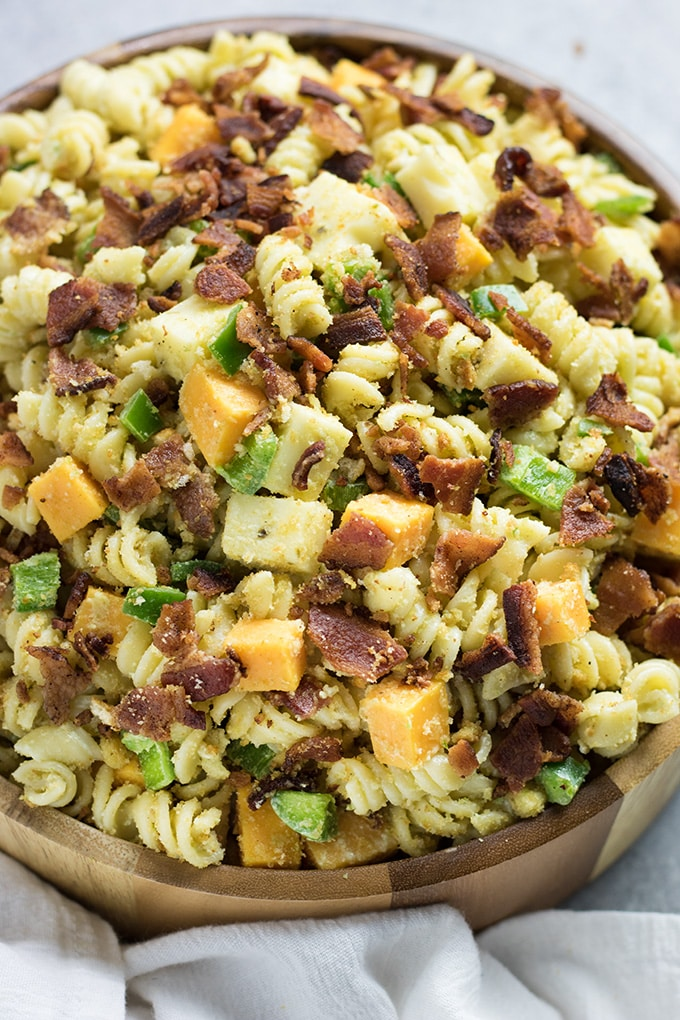 pasta salad with ranch and bacon