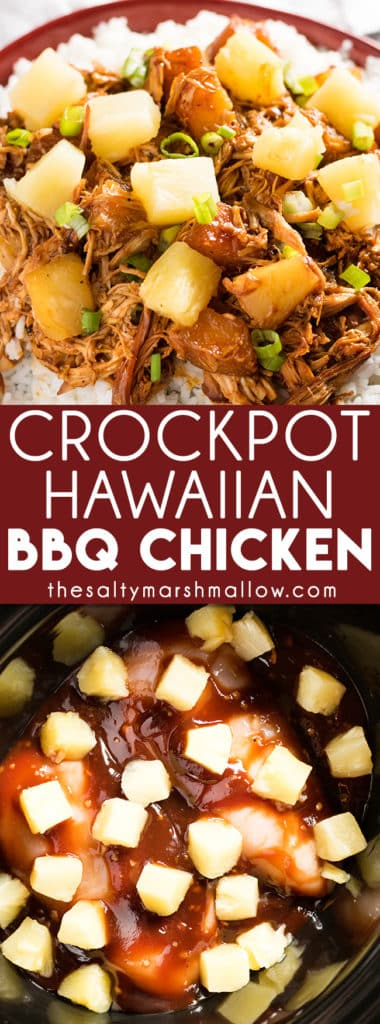 Crockpot Hawaiian BBQ Chicken: This Hawaiian pineapple BBQ chicken is a weeknight dinner made healthy and easy right in the crockpot! This dinner is perfect for summer with tender chicken smothered in your favorite bbq sauce and topped with sweet pineapple. Quick and easy with only five ingredients.