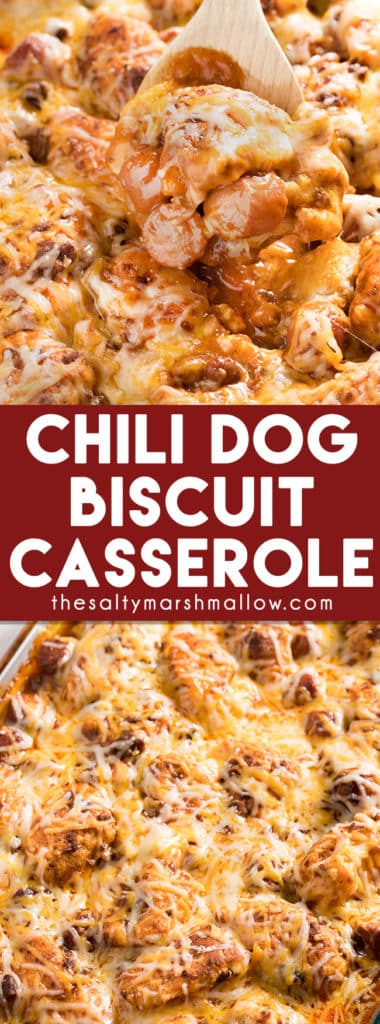 Chili Dog Biscuit Casserole: This Chili Dog Casserole is a quick and easy weeknight dinner recipe filled with biscuits, chili, hot dogs, and cheese! A delicious comfort food dinner recipe that is perfect for the whole family.