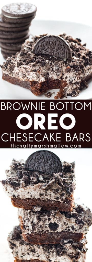 Brownie Bottom Oreo Cheesecake Bars: These brownie bottom Oreo cheesecake bars are easy to make with a box of fudge brownie mix for the crust and topped with a no bake Oreo cheesecake!