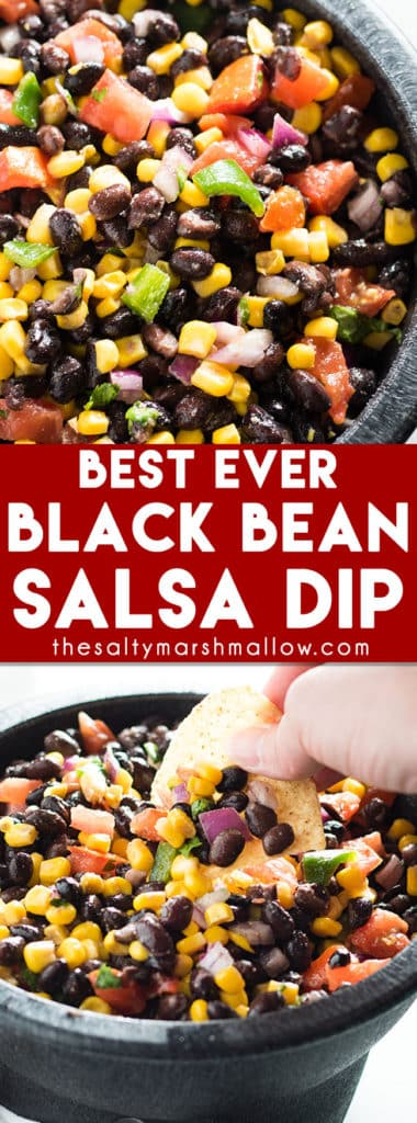 Black Bean Salsa - This black bean salsa dip is incredibly easy to make, and packed full of amazing flavor with black beans, corn, tomato, red onion, and some jalapeno for a nice kick! #blackbeansalsa #salsa #blackbeans #corn #saltymarshmallow #diprecipes