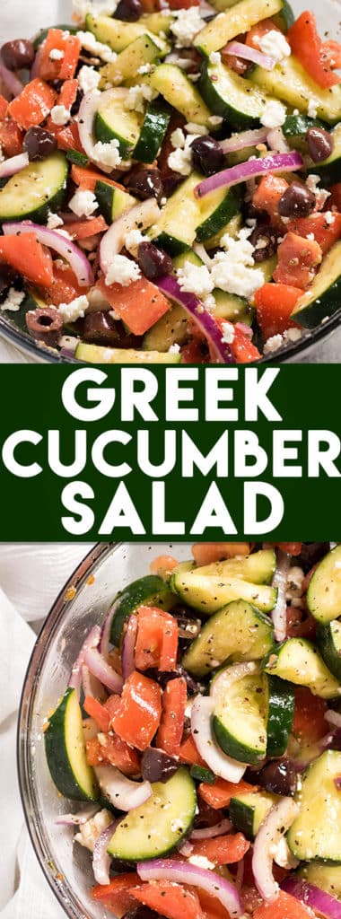 Greek Cucumber Salad: This light and healthy Greek Cucumber and Tomato Salad is the perfect light lunch or side dish for dinner. Full of veggies, olives, feta cheese, and a light lemon dressing.