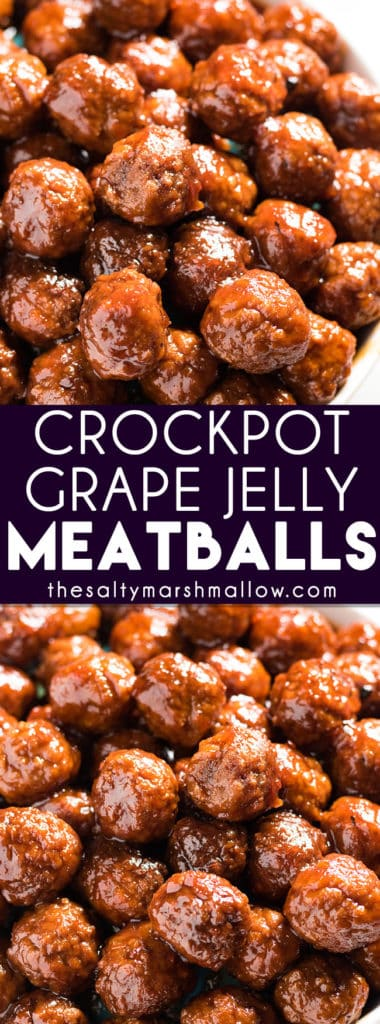 Grape Jelly Meatballs: Easy, three ingredient grape jelly and chili sauce meatballs made in the crockpot! The best recipe for sweet and sour cocktail meatballs that is simple to make in the slow cooker and perfect for a game day appetizer or an easy weeknight dinner served over rice!
