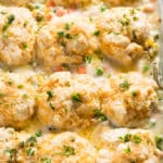 chicken pot pie casserole with biscuits