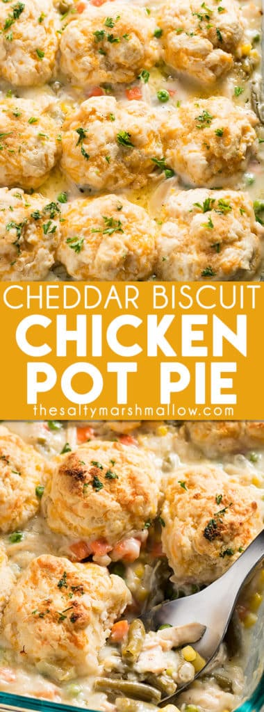 Cheddar Biscuit Chicken Pot Pie Casserole is a quick and easy weeknight dinner recipe! A delicious and simple to make homemade chicken pot pie filling topped with cheddar bay style biscuits!