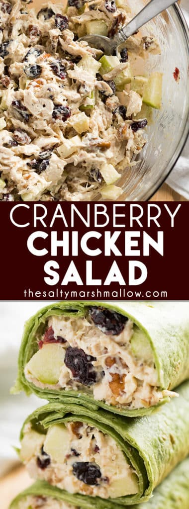Cranberry Chicken Salad is an easy and healthy, light recipe for the perfect fall lunch or dinner! This chicken salad is a classic that's great served as a sandwich or a wrap. Make this very best chicken salad even easier with rotisserie chicken!
