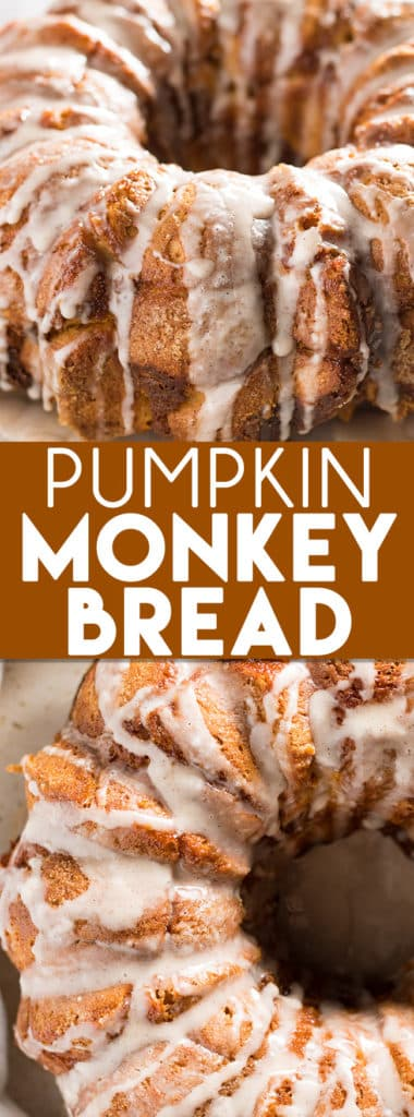 Pumpkin monkey bread is as easy to make as classic monkey bread! Using Pillsbury refrigerator biscuits, pumpkin, and cream cheese this pull apart bread comes together in a snap! The perfect fall breakfast, brunch, or dessert packed with tons of pumpkin pie flavor!
