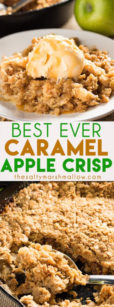 Caramel Apple Crisp - This easy recipe for apple crisp is the absolute best. Quick and simple, old fashioned apple crisp made even better with the addition of caramel., and a cinnamon oatmeal crumble on top. This will be your new favorite fall dessert!