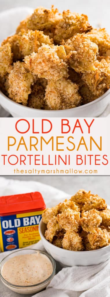 Old Bay Parmesan Tortellini bites are the perfect baked appetizer recipe for your next party! My family loves this quick and easy warm appetizer for game day and tailgating!