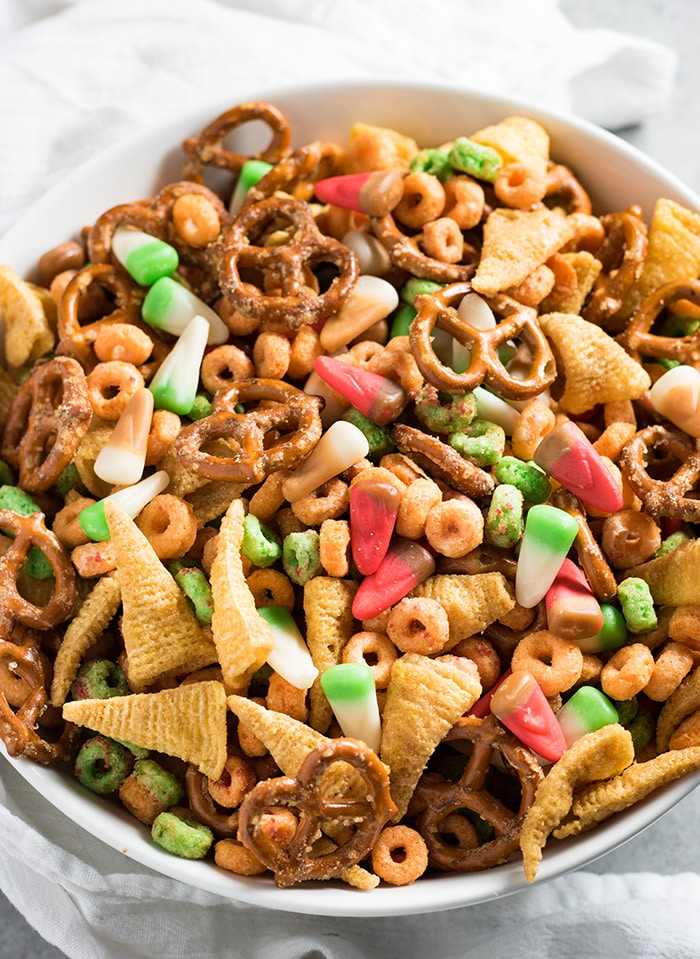 Apple Pie Fall Harvest Snack Mix is salty and sweet and perfect for fall and Halloween parties