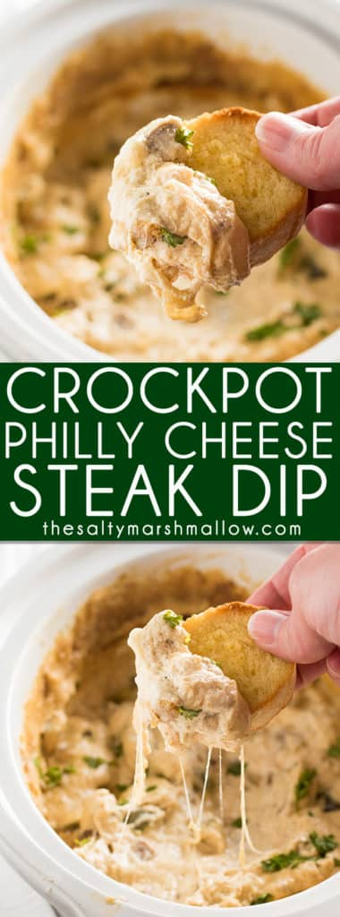 Crockpot Philly Cheese Steak Dip - This easy cheesesteak dip is the perfect appetizer for a crowd!  Made in the slow cooker, this hearty, mouthwatering, dip tastes just like a Philly Cheese Steak and is always a hit at game day and super bowl parties!