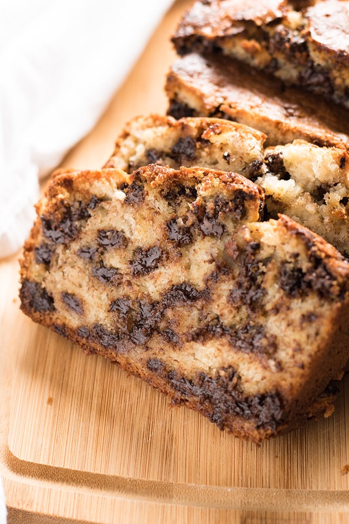 Easy banana bread recipe with chocolate chips in one bowl