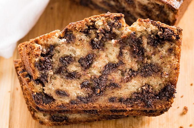 Easy One Bowl Banana Bread with Chocolate Chips