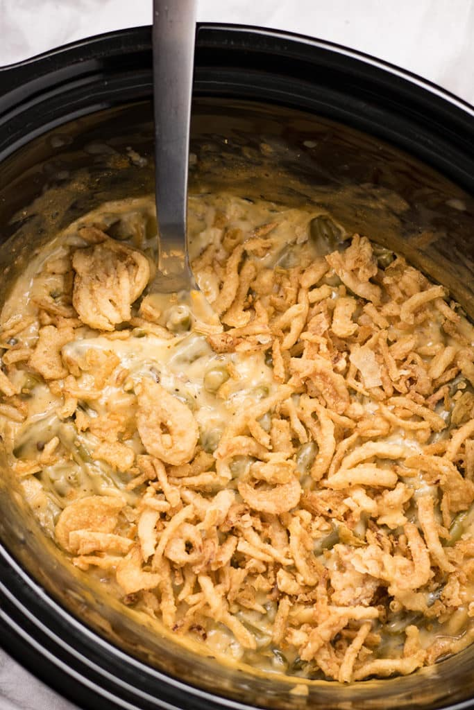 Crockpot Green Bean Casserole with Cheese