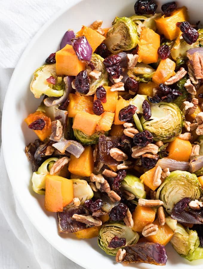 Roasted Butternut Squash and Brussel Sprouts