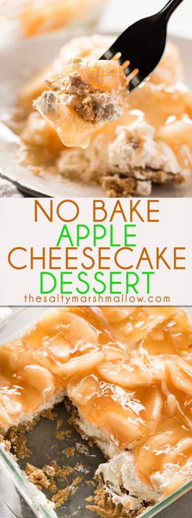 No Bake Apple Cheesecake Dessert - This easy to make apple dessert is so delicious, with just a few ingredients! A no-bakegraham cracker crust filled with a creamy cinnamon sugar cheesecake and topped with apple pie filling!