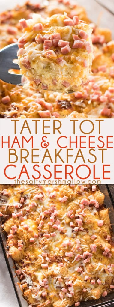 Tater Tot Breakfast Casserole with Ham - This tater tot ham and cheese breakfast casserole is perfect for weekend breakfast and brunch, especially during the holidays! Or, you can make it ahead and have a great breakfast meal prepped ahead for the week! Full of tater tots, ham, and cheese - simply mouthwatering!