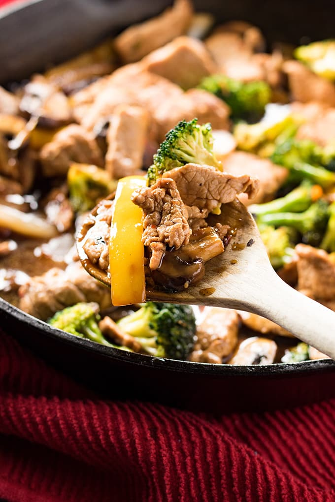 Pork stir fry made easy in one pan with a flavorful garlic sauce and veggies