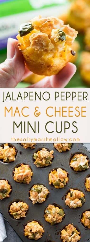 #AD These mini mac and cheese bites are the perfect little two bite appetizer for game day! Easy to make mac and cheese cups baked with #FarmRich Jalapeno Pepper topping! These are one of our favorite party foods!