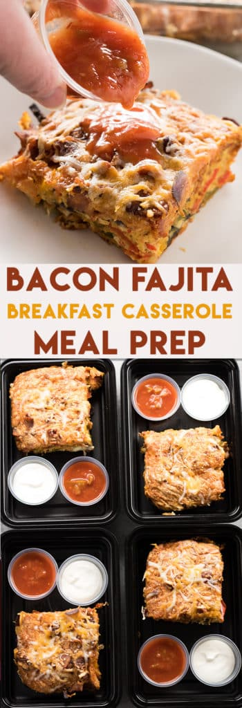Bacon Fajita Breakfast Casserole is the best healthy breakfast that is easy and quick to make. Make this breakfast ahead for meal prep, it's a great low carb option for the week!