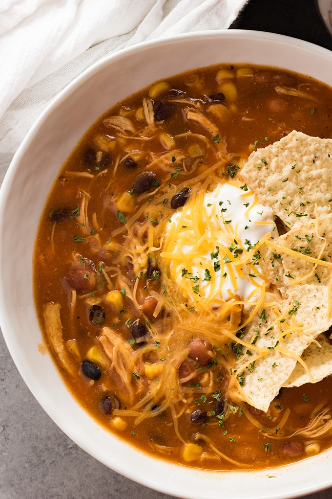 Instant Pot chicken soup with taco flavor