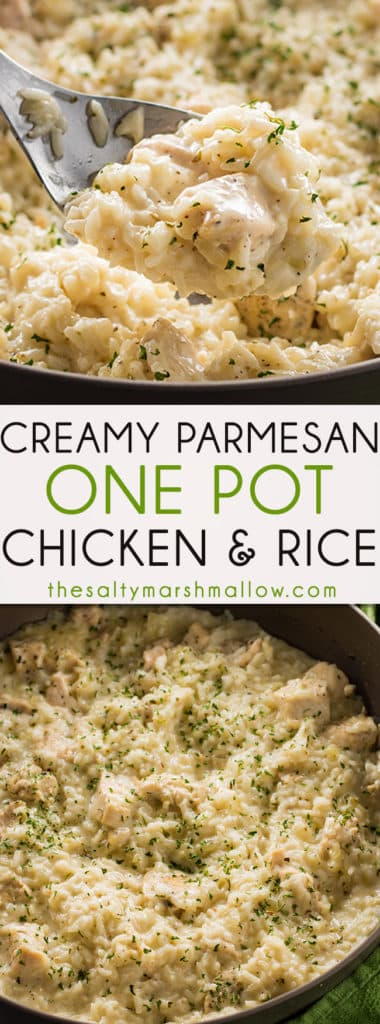 This Creamy Parmesan One Pot Chicken and Rice is the easiest chicken and rice casserole! A simple dinner recipe for chicken and rice that is cheesy, delicious, and ready in 30 minutes!