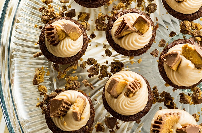 peanut butter brownie cups are easy to make with boxed brownie mix