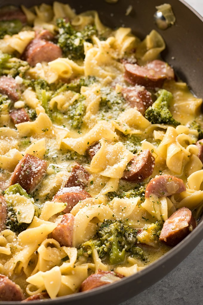 Cheesy Smoked Sausage One Pot Pasta The Salty Marshmallow