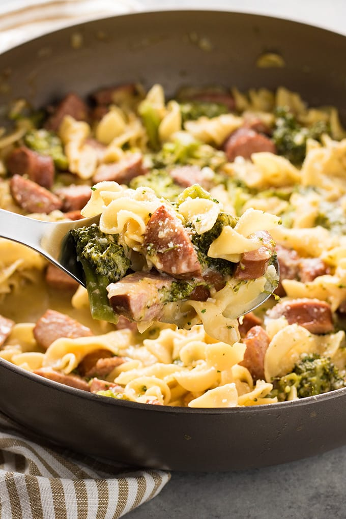 cheesy broccoli sausage pasta is a complete meal in one pan