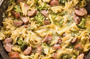 One Pot Cheesy Broccoli Sausage Pasta