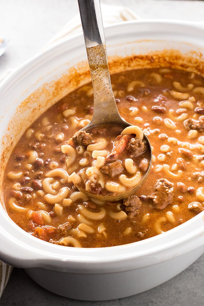 crockpot macaroni soup with chili beans and cheese
