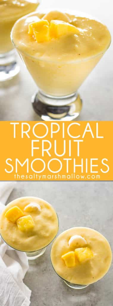 An easy to make and refreshingly sweet smoothie!  These tropical smoothies are great for breakfast, healthy, and packed full of mango, pineapple, and banana flavor!