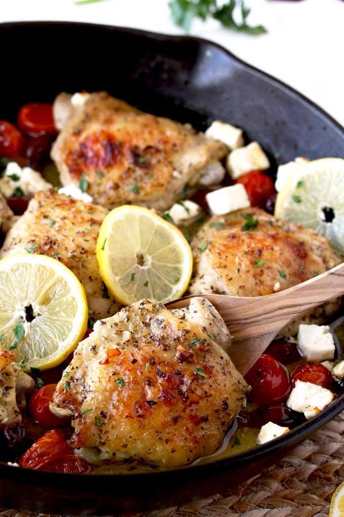 Greek Lemon Oven Roasted Chicken Thighs