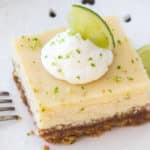 Key lime pie bars with a graham cracker crust