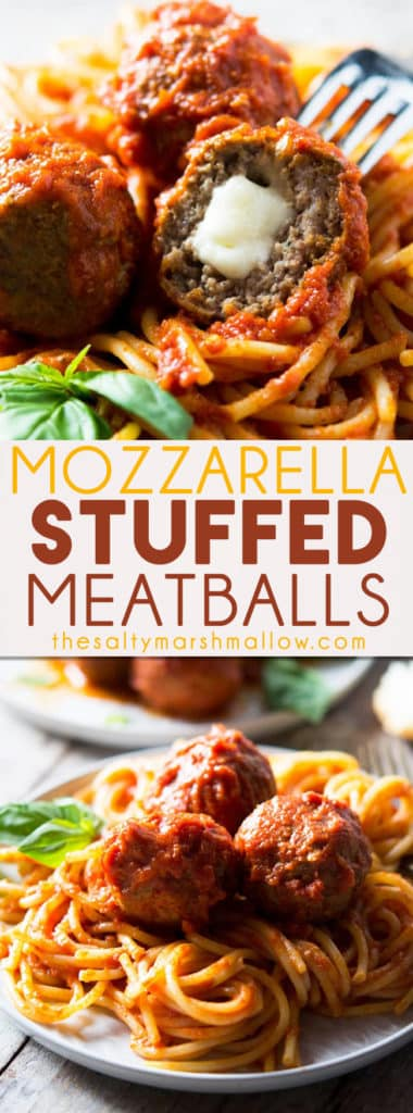 Mozzarella stuffed meatballs in a rich, tomato sauce. This recipe is incredibly easy and absolutely delicious! Juicy beef meatballs stuffed with oozing mozzarella cheese and cooked in the easiest tomato sauce.
