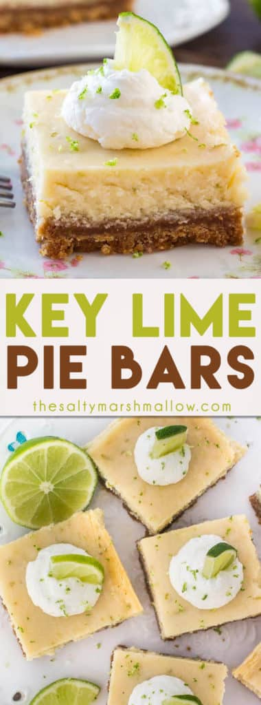 Key lime pie bars are smooth and creamy with a delicious lime flavor that's not too tart. The crunchy graham cracker crust goes so well with the creamy filling - making this the perfect key lime pie recipe.