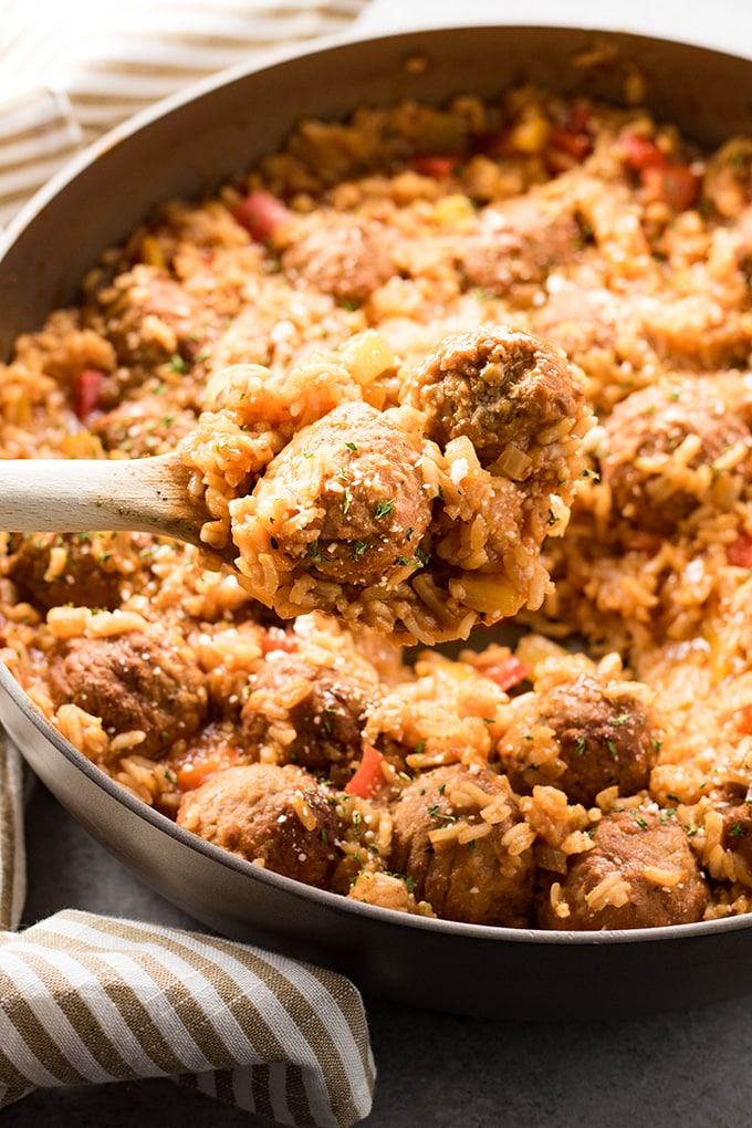 Meatballs and rice made in one skillet with a tomato sauce
