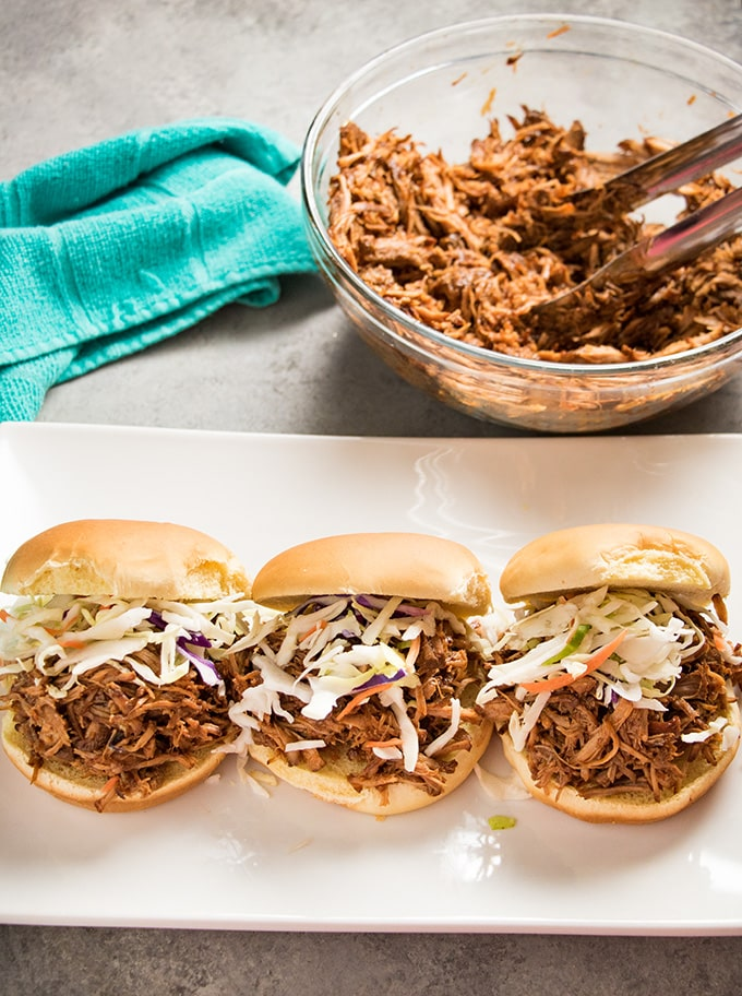easy pulled pork recipe made with pork loin in the instant pot