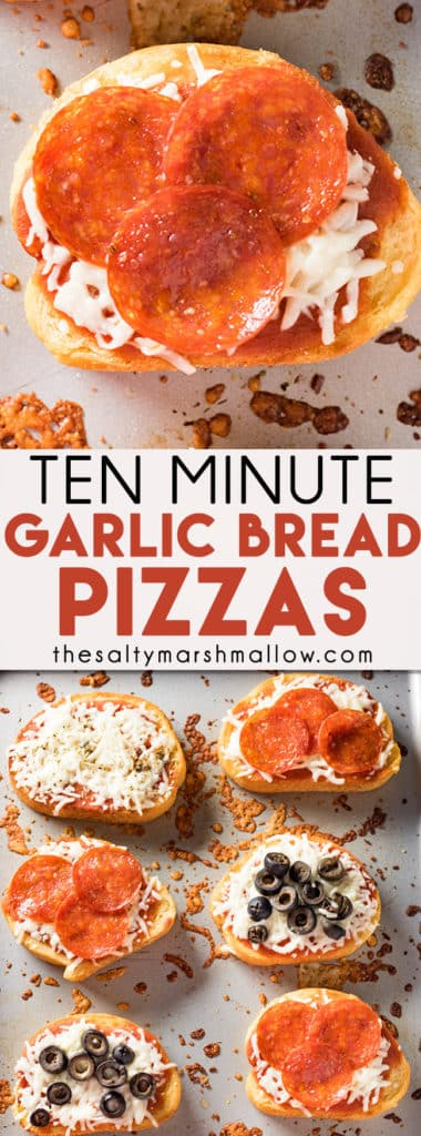 Easy Garlic Bread Pizza - This pizza bread is made simple using frozen texas toast style garlic bread!  A fun and easy pizza toast recipe that is easily customizable with your family's favorite pizza toppings, ready in ten minutes! #pizza #garlicbread #easydinner #texastoast