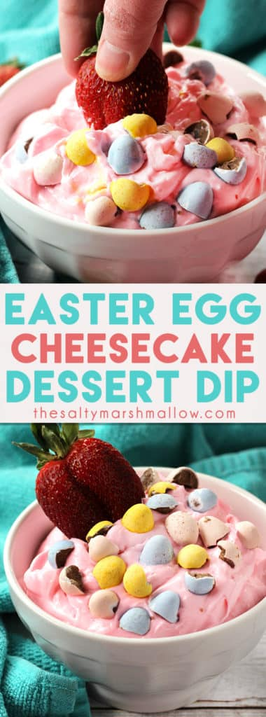 Easter Egg Cheesecake Dip is the perfect colorful and flavorful dip for your Easter gathering!  With only a handful of ingredients, this sweet dessert dip comes together in a snap and is delicious with your favorite fruits! #dessert #easter #eastertreats #cheesecake #cheesecakedip