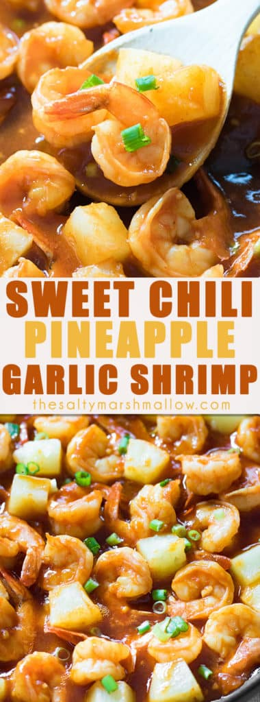 Pineapple Garlic Sweet Chili Shrimp - This easy shrimp recipe is ready in 15 minutes or less!  Shrimp sauteed with a spicy and sweet chili garlic sauce with chunks of pineapple. #shrimp #shrimprecipes #healthyshrimprecipes #easyshrimprecipes #spicyshrimp
