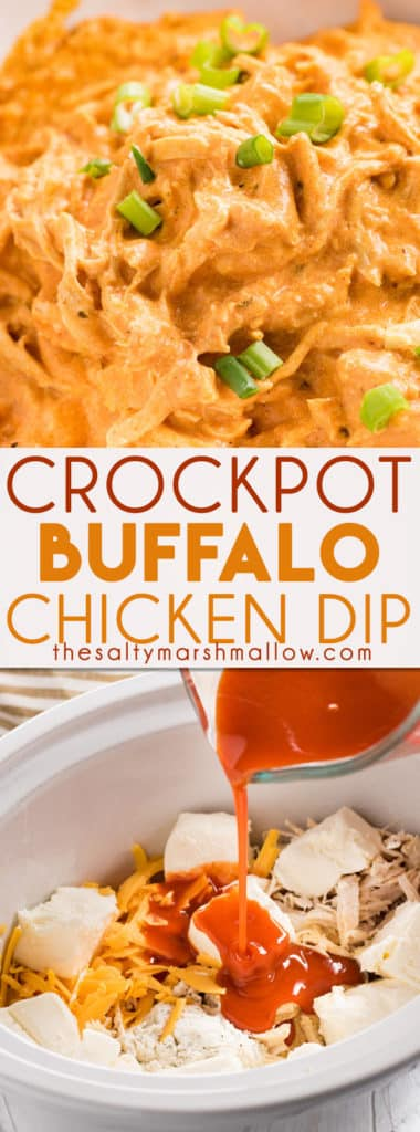 Creamy and cheesy Slow Cooker Buffalo Chicken Dip is everyone's favorite dip! This buffalo chicken dip recipe is full of tender chicken, buffalo sauce, ranch, garlic, cream cheese, and cheddar for the ultimate game day or party appetizer! #buffalochickendip #buffalodip #crockpot #gameday #appetizer