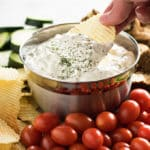 dill dip served with chips