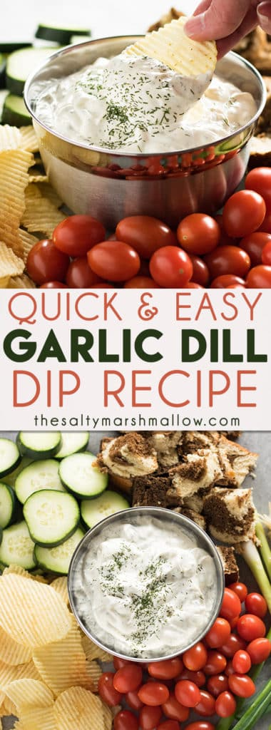 This easy dill dip is creamy and flavorful, and ready in minutes!  Dill dip is great served with your favorite fresh chopped vegetables, chips, crackers, and toasted bread! #dip #dilldip #dill #thesaltymarshmallow #snacks