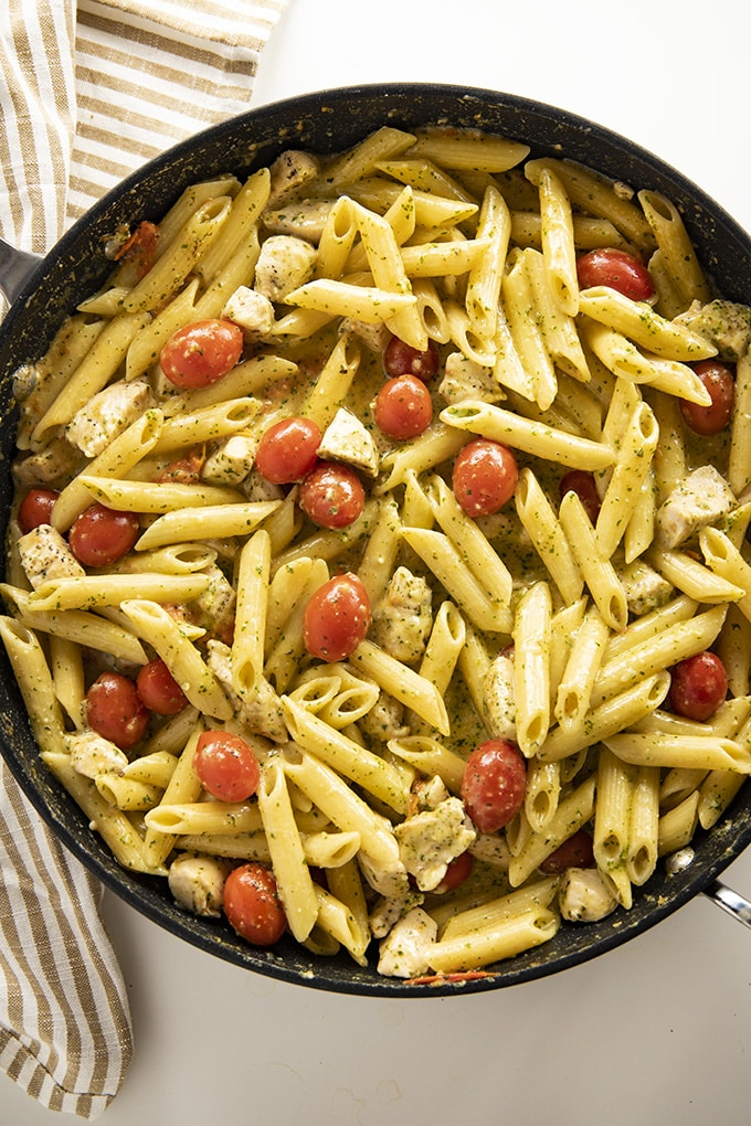 one pan pesto pasta with chicken