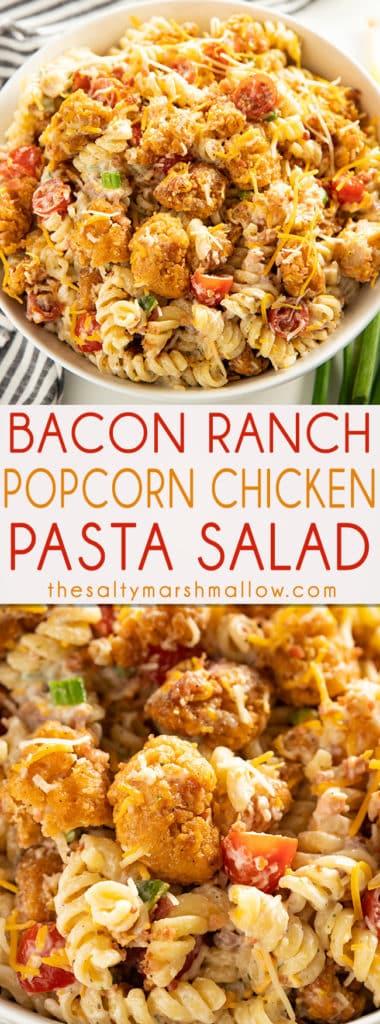 爆米花鸡肉培根牧场通心粉沙拉——这令人垂涎的,容易使通心粉沙拉食谱是夏季家常便饭的最爱!脆皮鸡,培根,切达奶酪,面条,和奶油沙拉酱!# saltymarshmallow # pastasalad #家常便饭# baconranch # popcornchicken