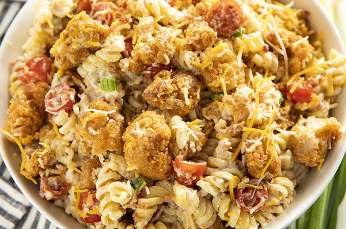 popcorn chicken ranch pasta salad